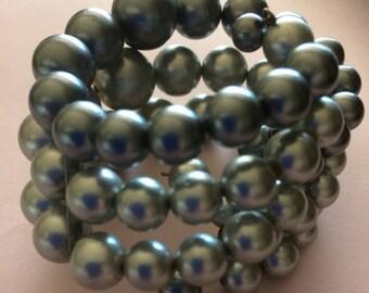 Beaded faux pearl cuff bracelet