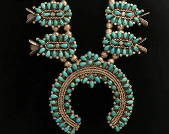 Vintage Zuni-made Native American squash blossom necklace, sterling silver with natural turquoise, made in 1970s