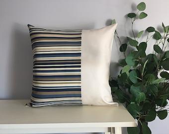 Decorative Pillow Cover, Color Block Pillow, Pillow with Blue Stripes