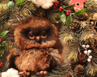 SOLD, FOR ORDER Teddy owl, teddy bird, ooak