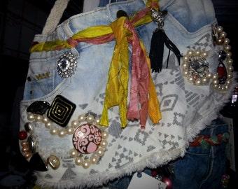 Embellished Denim Handbag