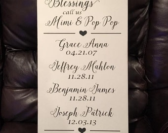 HANDMADE GREATEST BLESSINGS custom wood sign Mother's Day Grandparents personalized gift  grandmother grandfather anniversary