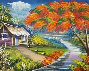 Flamboyant painting canvas oil painting colorful  landscape dominican art painting haitian art tropical home decor original painting  10x8