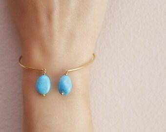 Turquoise gold bracelet, Gemstone cuff bracelet, 14K gold cuff, Turquoise cuff bracelet, Gold gemstone bracelet, Dainty Gold Cuff, Yellow