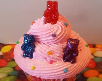 Pink Bubblegum Fake Cupcake, Red, Blue, Purple Gummy Bears, Birthday Party Decorations, Photo Props