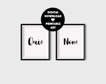 Set of 2 French Signs, Printable French Quotes, Yes No Print, Printable Quotes in French, Printable Minimalist Poster, Oui Non Wall Art