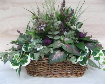 Foliage Centerpiece Green with Purple Lavender Floral Accents in Wicker Basket Faux Silk Artificial Mixed Foliage Arrangement All-Around