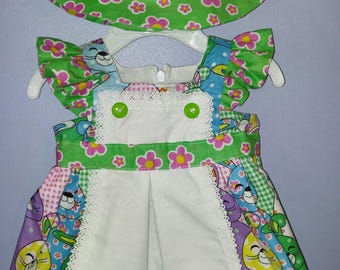 Infant and Toddlers summer Bunny Dress with matching hat, Bunny dress with hat for 0-3 months and 18- 24 months