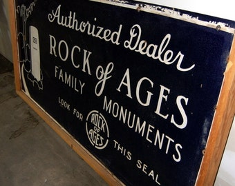 Original 1940s Rock Of Ages Double Sided Porcelain Sign