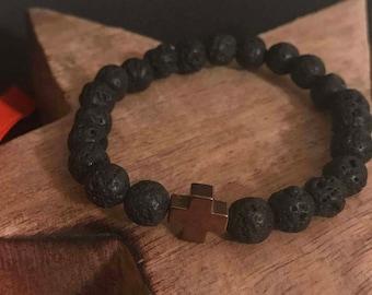 Men's Lava Bracelet with Rose Gold Cross