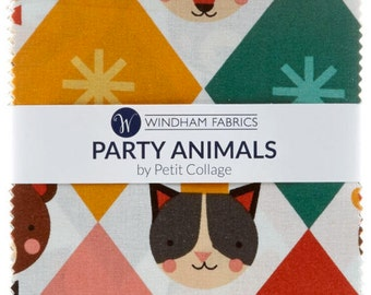 Party Animals Charm Pack by Petitcollage for Windham Fabrics - 42, 5 inch Precut Fabric Squares