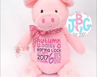 Personalised Pig Teddy Bear, Embroidered Custom Cubbies, Girls birthday Gift, Pig Cubby Teddy