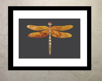 Watercolor Dragonfly Illustration Print
