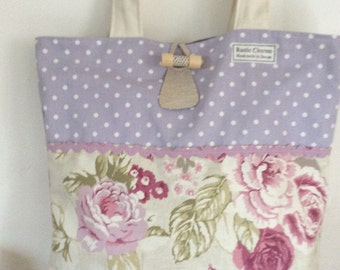 Shoulder bag, Very pretty mauve spot & vintage floral,with hand made wooden toggle