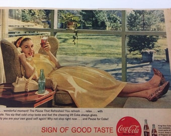 Vintage 1950s Coca Cola ad from magazine woman in yellow relaxing retro art wall decor gallery wall pretty woman