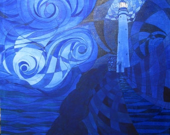 Painting - Acrylic on Canvas - Lighthouse and Sky in Blue