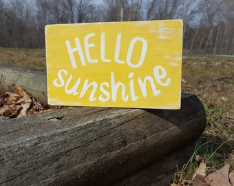Hello sunshine mini sign, mini wood block, desk decoration, shelf decoration, mantel decoration