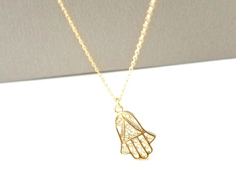 Hamsa Hand Necklace, Gold Hamsa Hand Pendant Charm, Birthday Gift, Good Luck Necklace, Gift for Her
