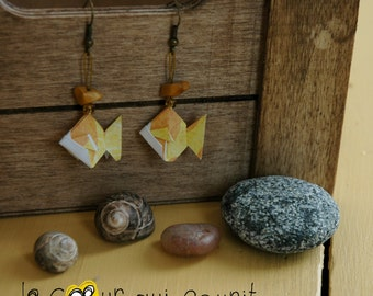 Origami (fish) - P003 earrings
