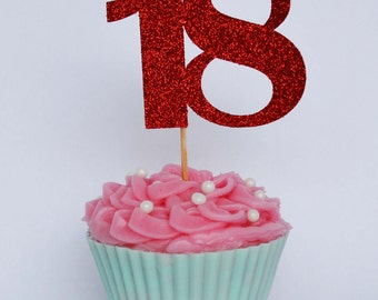18th Birthday Cupcake Toppers, 18th Birthday Party, Birthday Cake Topper, Number Cake Toppers, Cake Decoration, Party Decor, Party Supplies
