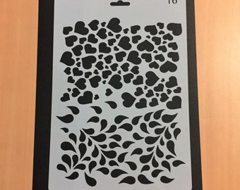 Plastic Stencil, Love, Heart, Rain, Droplets, Planner Stencil, Journal Stencil, Bullet Journal Stencil, Soft Plastic Sheet, 26 x 17.6 cm