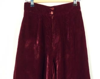 Magenta velvet high waist Alex Coleman 70s palazzo wide flare leg pants// Vintage California USA designer// Women's size 4 6 us  26 W