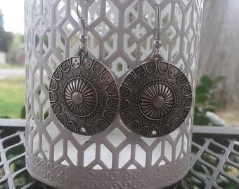 "Bohemian Earrings-2"" Tall- Silver- Bronze- Bohemia Jewelry- Ethnic-Boho- Dangle Drop Earrings"