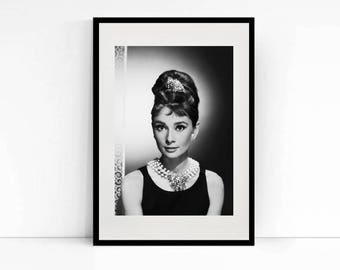 Audrey Hepburn Breakfast at Tiffanys - Black and White Print