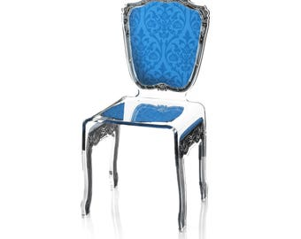Acrylic Baroque Style Blue Chair