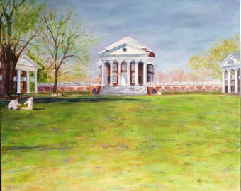 "Limited, Signed and Numbered Print ""The Rotunda"" featuring a glimpse of Thomas Jefferson's University of Virginia"