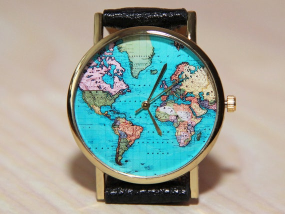 Wristwatches travelers wristwatch world map globe clock like this item gumiabroncs Image collections