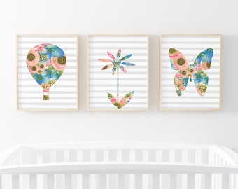 Floral Nursery Prints-Set of 3-Floral Hot Air Balloon-Daisy-Butterfly-Nursery Print-Pink-Flower Print-Instant Download-Wall Art Decor