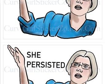 She Persisted, Elizabeth Warren Printable postcards, digital file, protest art, ides of march trump protest postcards