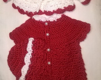 Preemie Crocheted three Piece outfit