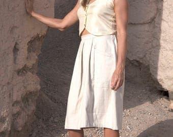 Desert-ready White Jute Cotton Skirt