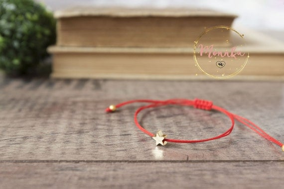 Red String Bracelet. Gold Plated Star. Kabbalah Red String Of Fate. Minimalist EveryDay Jewelry. Lucky Amulet, Unisex, Women, Men, Baby.