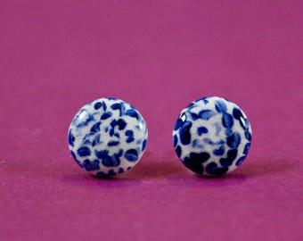 Blue chrysanthem earrings | Blue porcelain earrings | Chrysanthemum earrings | Cobalt blue earrings | Porcelain earrings | Porcelain jewelry