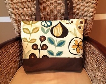 Floral print and brown tote bag, handbag, market bag, shopping bag, shoulder bag, purse