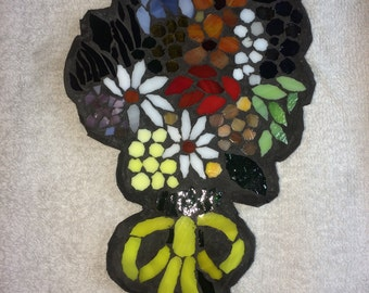Mosaic ' Flowers Tied with Yellow Ribbon' Wall Art