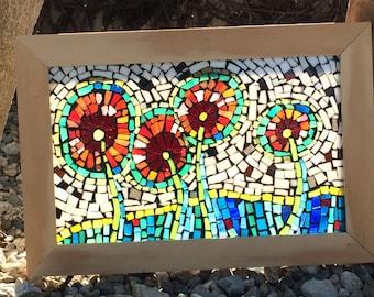 Mosaic 'Four Happy Flowers' Light Box