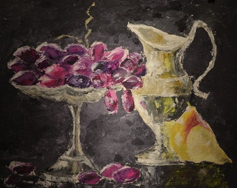 """Modern Acrylic painting on the paper. """"Fruits"""""""