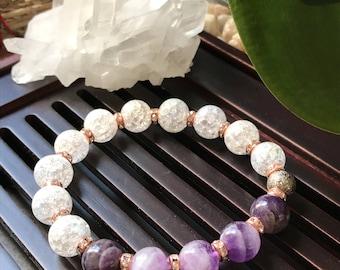 Chevron Amethyst & Snow Crystal Quartz Yoga Mala Beaded Bracelet. Healing Natural Gemstone Bracelet. Protection Mala Bracelet. Wrist Mala.