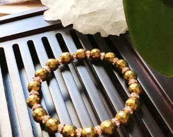 8mm Gold Hematite Yoga Mala Beaded  Bracelet.Healing Natural Gemstone Bracelet.Protection Bracelet.Boho Bracelet. Meditation Mala Bracelet.