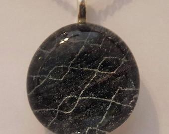 Glass stone pendant, pendant, black and white pendant, picture back pendant.