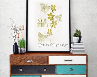 Butterfly Gold Art Print Butterfly Poster Butterfly And Flowers Insect Wall Decor