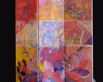 Three-part folding screen hand-painted-decorative flowers-VT Living style-original-pink warm tones-Dim. 150 x 150 cm
