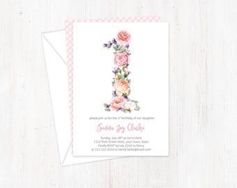 1st birthday invites, first birthday, printed invitations, number 1 invitations, birthday party invites, summer birthday invites, turning 1