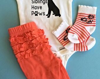 My Siblings have Paws Baby Onesie // Dog lover Onesie  // Baby Onesie // Funny Baby shirt // Funny Baby Onesie //  Dog baby Onesie