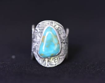 Turquoise Sterling Silver Statement Ring Size 7.5 / Bohemian Ring / Southwest Wide Band Ring / Handmade / OOAK