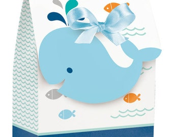 12 CT Sweet Baby Whale Favor Boxes/ Baby Boy Whale Baby Shower Favor Bags/ Whale Party Favors/ Whale Baby Shower